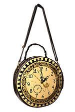 Banned Apparel Clock Circular Round Bag Steampunk Time Goth Punk Purse Handbag