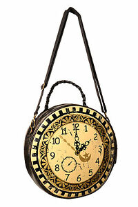 Lost Queen Clock Circular Round Bag Steampunk Time Goth Punk Purse Handbag