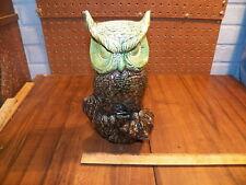 """Vintage 10.5"""" Tall Green Tinted Owl Figurine"""
