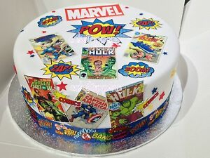 Edible Icing Superhero Comic Book Covers Cake Toppers Mens Cakes Spiderman