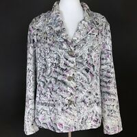 Chico's Size XL 3 Silk Jacket Purple Silver Beaded Button Front Paisley Print