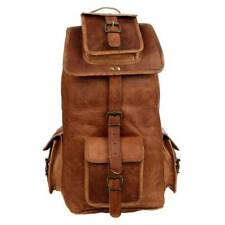 Men's Large Leather Backpack Laptop Bag Hiking Travel Camping With Indian Jhola