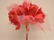 CORAL Half Open Rose with Glitter & Pearls Bouquet Artificial Foam Flower 8226CL
