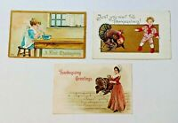 3 Vintage HBG HB Griggs Thanksgiving Greetings Postcards Children Mother Turkeys