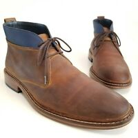 Cole Haan Colton Chukka Boots Brown Blue Leather Suede Men's Shoes Size 11 W