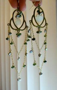 14K G.F. White Chrysoprase Green Emerald Peridot Pearl Chandelier Hook Earrings