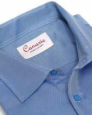 Men's Formal Shirt Blue Twill Luxury Slim Fit Button Cuff