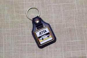 VW Jetta Mk1 Keyring - Leatherette & Chrome Keytag