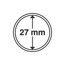 Capsules rondes 27mm, pour pièces de monnaie. Paquet de 10.