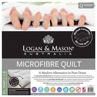 Logan and Mason Microfibre 350gsm Double Bed Size Quilt Doona 100% Cotton Casing