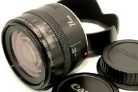 Near Mint Canon EF 24mm f/2.8 AF Ultra Wide Angle Lens w/ Hood Caps from Japan