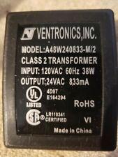 Ventronics Plug-in Transformer 24Vac from 115Vac. Black, Screw terminals