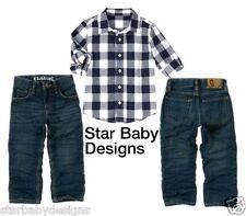 NWT Gymboree VINTAGE SKI CABIN Outfit Size 12 Check Shirt,Denim Jeans Classic