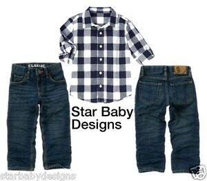 NWT Gymboree SKI CABIN Outfit Blue Check Shirt,Jeans,Adj Waist Size 12,Vintage