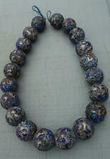 Vintage Chinese Cloisone Enamel Big Big Silver 20 mm Bead Necklace (Cobalt)