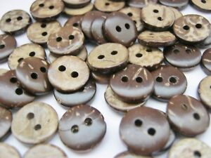 Brown Coconut Shell Buttons 10mm, 12mm, 15mm Shirt Blouse Cardigan Sewing Button