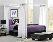 Metal Canopy Bed Frame Queen Size W/ HeadBoard Platform Modern Bedroom White