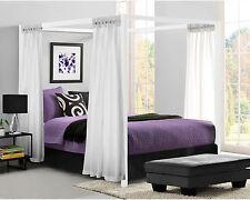 Metal Canopy Bed Frame Queen Size W/ HeadBoard Platform Modern Bedroom White