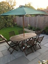WOODEN OUTDOOR PATIO GARDEN FURNITURE SET~ TABLE & 6 CHAIRS + CUSHIONS + PARASOL