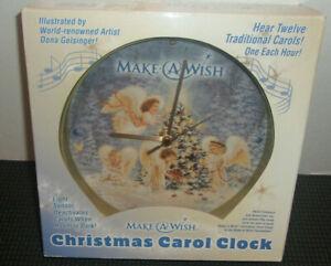 """Mark Feldstein Musical Clock 12 Hour """"Make a Wish"""" Angel Christmas Carol NIB"""