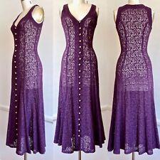 Betsey Johnson Luxe 1990s Size S Purple Lace Sleeveless Princess Seam Midi Dress