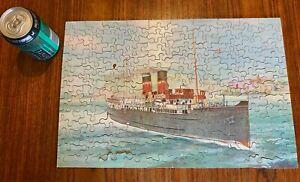 ANTIQUE GWR WOODEN JIGSAW PUZZLE SS ST. JULIEN CHANNEL ISLAND FERRY + WW2 SHIP