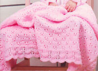 Baby Knitting Pattern Eyelet & Lace Set Blanket Bonnet & Cardigan 3-6 months DK