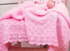 Baby Knitting Pattern Eyelet & Lace Set Blanket Bonnet & Cardigan 3-6 months DK