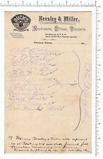 4092 Beasley & Miller  Buck's Stove bicycle, tinware 1890s billhead Pittsburg KA