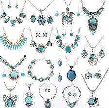 Vintage Women Turquoise Tibetan Silver Charm Pendant Long Chain Necklace Jewelry