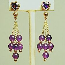 14k solid yell/gold heart & round natural amethyst gorgeous earrings screw back