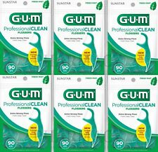 GUM  Flossers Mint w. Extra Strong Floss 90 ct (Pack of 6) ****