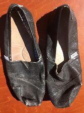 Tom's Black Sparkle Sparkly Glitter Canvas Ballet Flats Women's Size 8 Worn