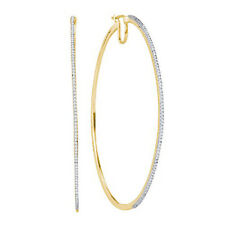 10 Quilates Oro Amarillo 0.50 CTW Diamante Micro Pavé Pendiente de aro