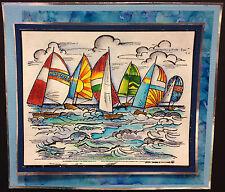 Sailboat Regatta Scene Wood Mounted Rubber Stamp Northwoods Stamp P4980 New