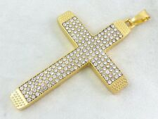 Real 18k Gold Filled Jesus Cross Lab Simulated Diamonds Charm Pendant 3""