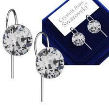 925 Argento Sterling Orecchini Gancio Xirius 8 mm chiaro cristalli di Swarovski ®