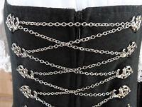 Miederkette, Dirndlkette,Metallkette, Gliederkette, Farbe silber, 2 m lang,