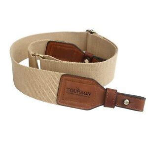 TOURBON 2-inch Cotton and Brown Leather Gun Sling Rifle Carry From Japan