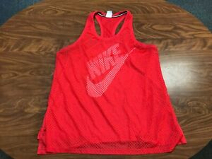 WOMENS USED LIGHTLY WORN NIKE AIR SWOOSH RED MESH TANK TOP JERSEY SHIRT SIZE XL