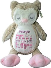Personalised Teddy Bear Owl New Baby Gift Newborn Girl or Boy Birth Details
