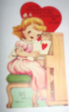 Vtg 1950s Little Girl Playing Piano Harmonize Children's Valentine's Day Card