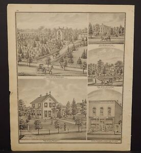 Ohio Portage County Map Union Schools Bank Block  Engravings 1874 J17#43