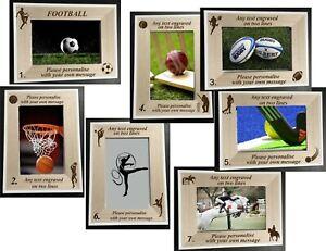"PERSONALISED ENGRAVED FOOTBALL/SPORT DESIGN AWARD GIFT 6"" X 4"" PHOTO FRAME"