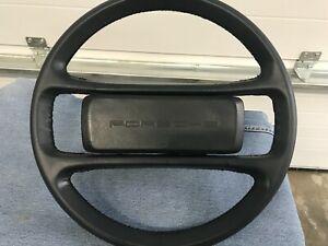 Porsche 928 S4 Steering wheel w Center Horn Pad Dark BLUE