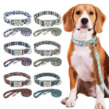 Floral Personalised Pet Dog Collar and Lead Nylon Custom Name ID Tag 7 Colours