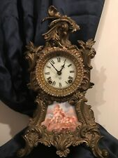 Antique 1900's Ansonia Clock Co NY Gilt Metal and Porcelain Panel Mantle Clock