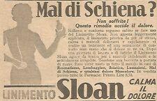 W4188 Mal di schiena ? - Linimento SLOAN - Pubblicità del 1930 - Vintage advert