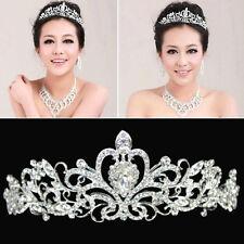 shine Bridal Princess Stunning Crystal Hair Tiara Wedding Crown Veil Headband hs