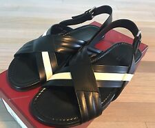 525$ Bally Verlon Black Leather Sandals size US 12.5 Made in Italy